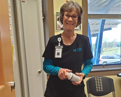 School nurse Pauline Reynolds is always ready and willing to help our students.