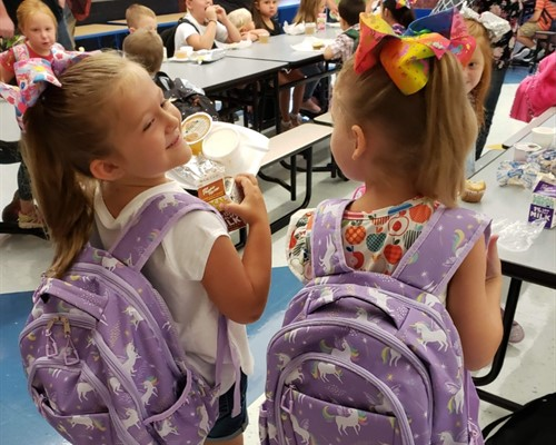 First day of school backpack twinsies!
